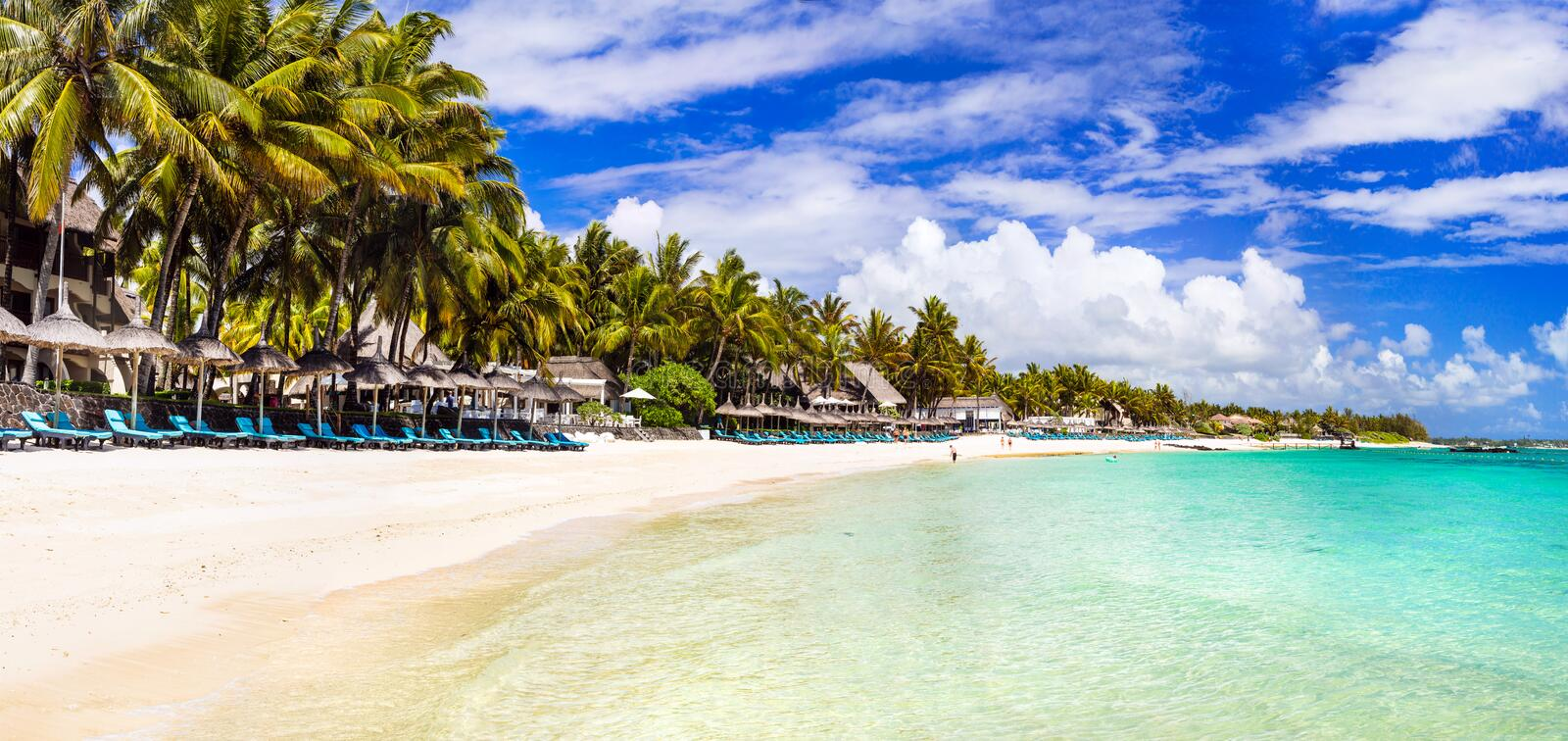 Amazing long white sandy beaches of Mauritius island. Tropical h royalty free stock photography