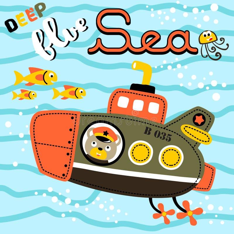 Submarine cartoon vector royalty free illustration