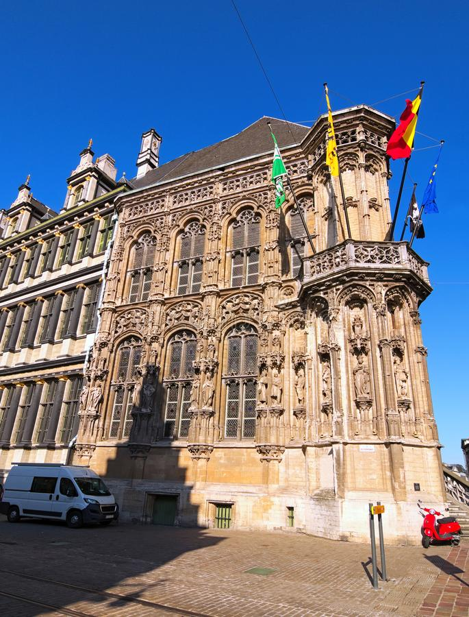 Amazing medieval building of City Hall Stadhuis Gent in Ghent, Belgium. It is one of the most popular spot in the city.  stock photos