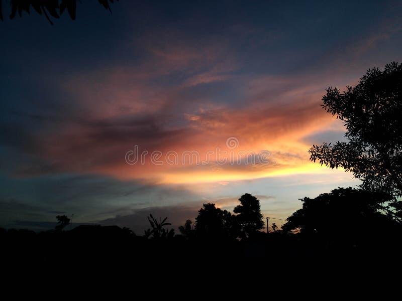 Amazing Morning With Clear Sky Banyuwangi Indonesia. Banyuwangi, Indonesia - November  18, 2019 : Beautiful Morning In Banyuwangi stock image