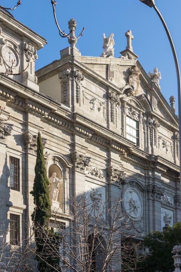 Amazing Morning view of Parish of Santa Barbara in City of Madrid, Spain. MADRID, SPAIN - JANUARY 24, 2018: Amazing Morning view of Parish of Santa Barbara in stock photography