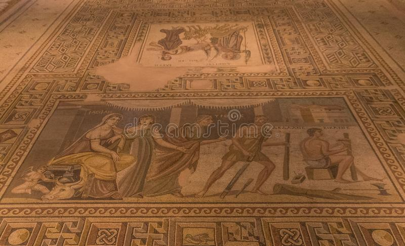 The amazing mosaics of Gaziantep, Turkey. Gaziantep, Turkey - Gazientep is one of the oldest cities in the World, with a stronge greek, roman and ottoman royalty free stock image