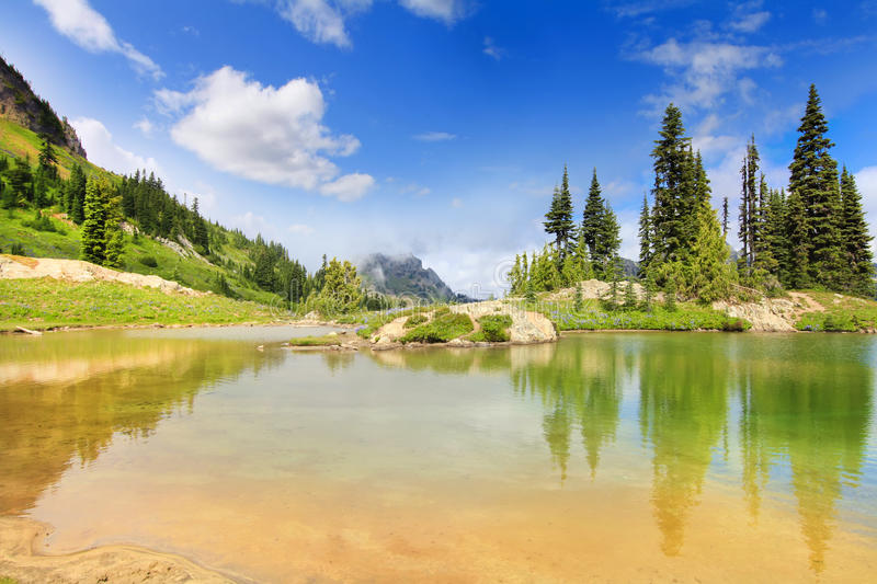 Amazing mountain lake with bright green color