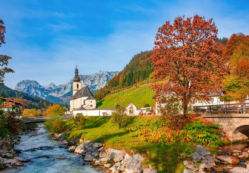 Amazing mountain landscape in the Bavarian Alps. Ramsau bei Berchtesgaden village at sunny autumn day, Bavaria, Germany. Amazing mountain landscape in Bavarian royalty free stock photo