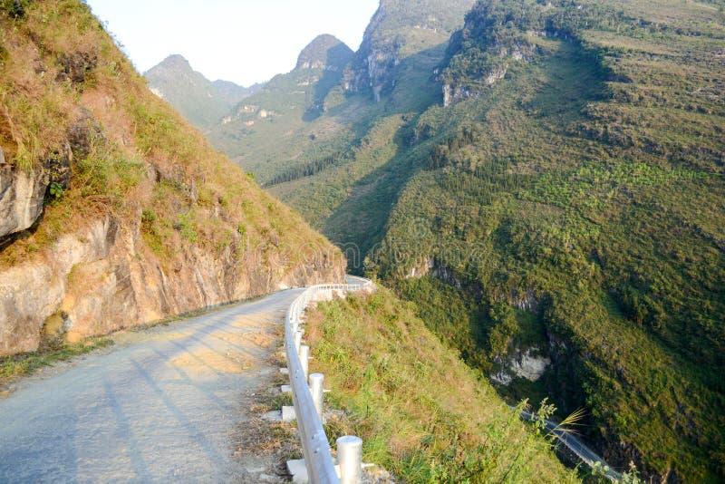 Amazing mountain pass road called Nine Ramps or Doc Chin Khoanh. In Vietnamese near Van Karst geological park, Vietnam stock image