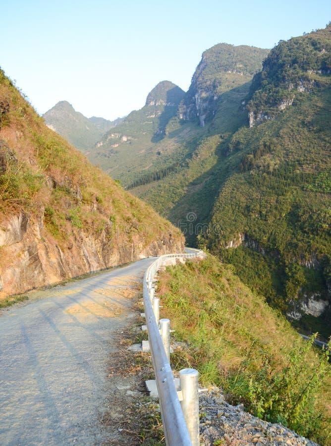 Amazing mountain pass road called Nine Ramps or Doc Chin Khoanh. In Vietnamese near Van Karst geological park, Vietnam royalty free stock photo