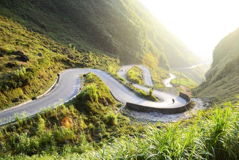 Amazing mountain pass road called Nine Ramps or Doc Chin Khoanh. In Vietnamese near Van Karst geological park, Vietnam stock photo