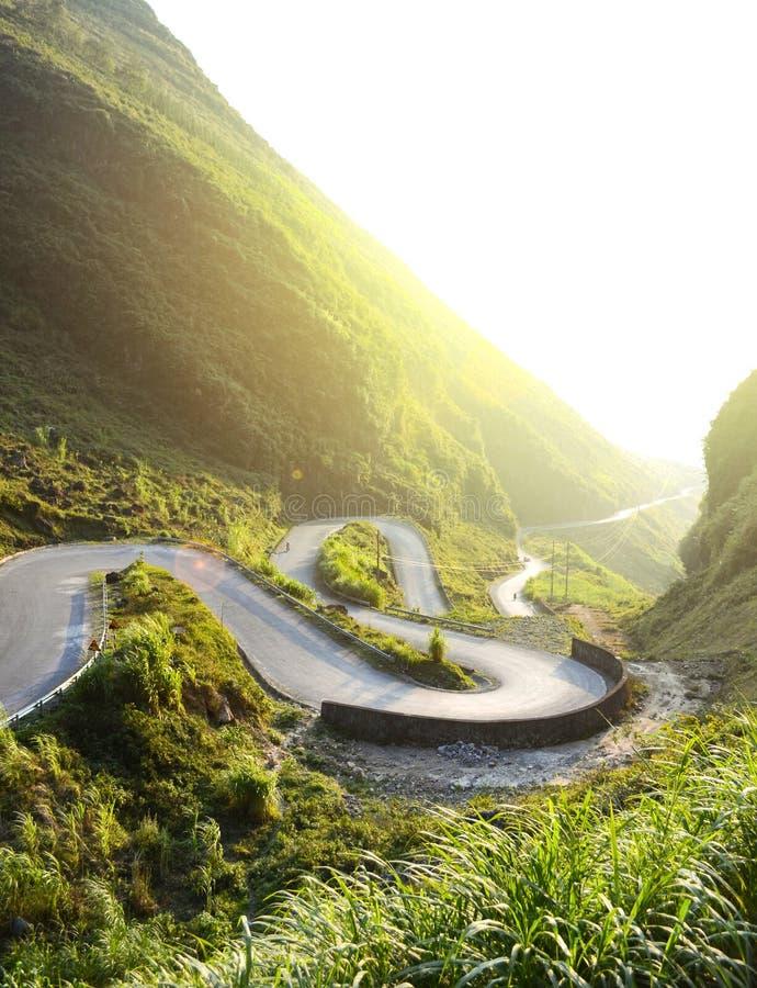 Amazing mountain pass road called Nine Ramps or Doc Chin Khoanh. In Vietnamese near Van Karst geological park, Vietnam royalty free stock photos