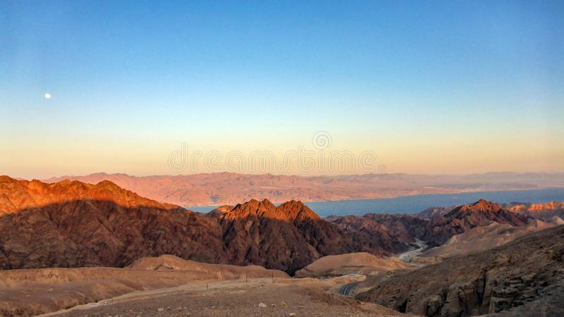 Amazing mountin view and Red sea in Eilat, Israel royalty free stock photography