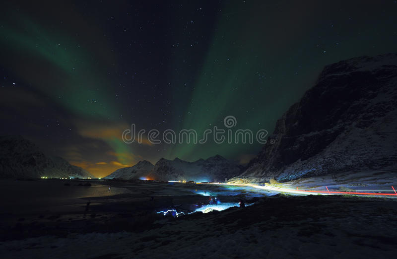 Amazing multicolored Aurora Borealis also know as Northern Lights in the night sky over Lofoten landscape, Norway, Scandinavia. royalty free stock image