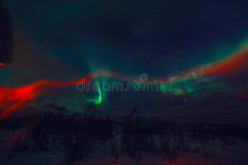 Amazing multicolored Aurora Borealis also know as Northern Lights in the night sky over Lofoten landscape, Norway, Scandinavia. Blurred as abstract nature