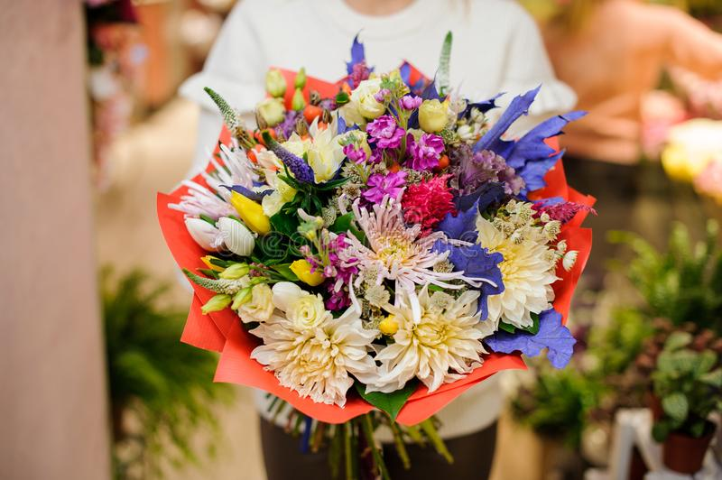 Amazing multicolored valentine bouquet of beautiful flowers stock photography