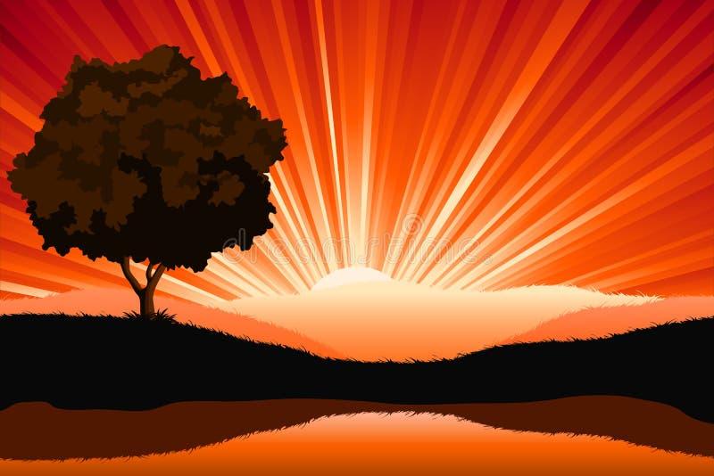Amazing natural sunrise landscape vector illustration