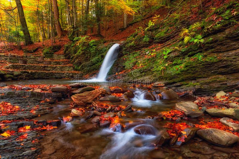 Amazing nature autumn landscape with waterfall in the forest stock image