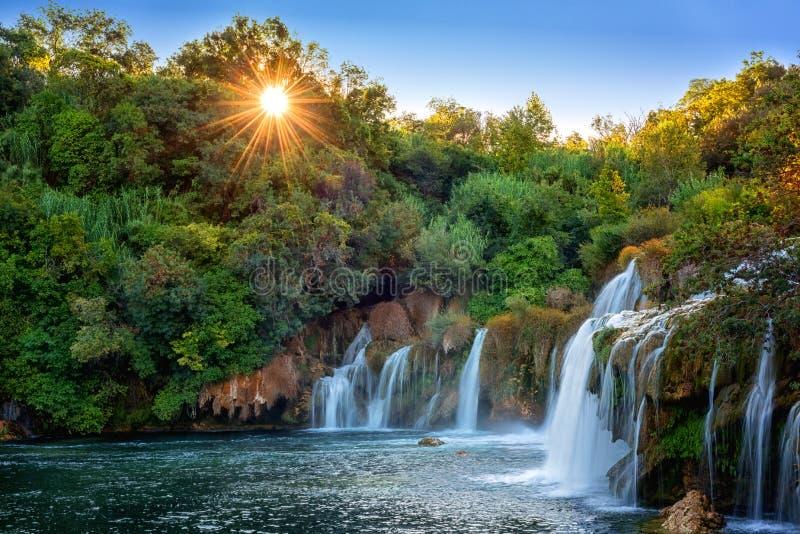 Amazing nature landscape, famous waterfall Skradinski buk at sunrise, Croatia, outdoor travel background royalty free stock photos