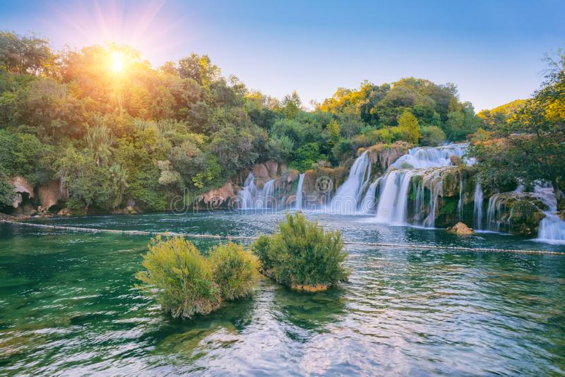 Amazing nature landscape, famous waterfall Skradinski buk at sunrise, Croatia, outdoor travel background stock photos