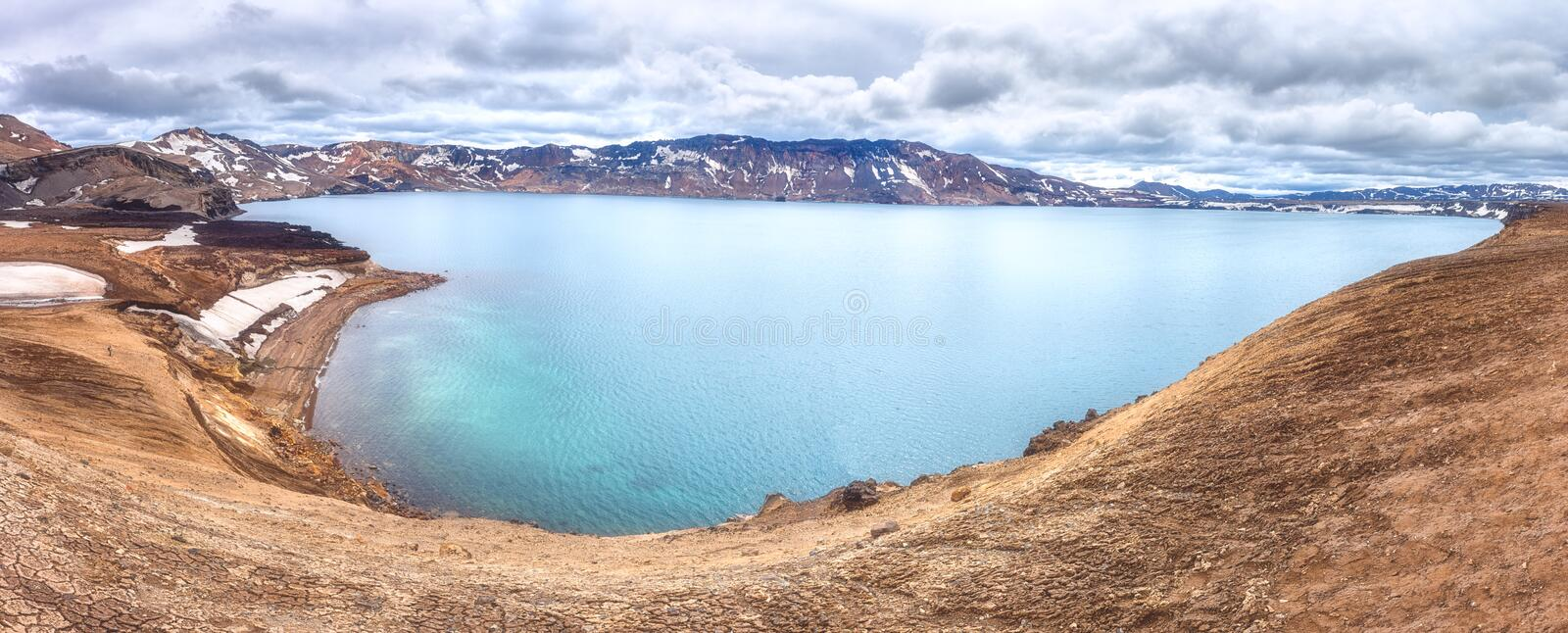Amazing nature landscape, Oskjuvatn lake in Askja caldera, highlands of Iceland. Scenic panoramic view, outdoor travel background stock photography