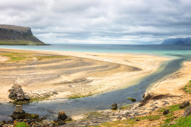 Amazing nature landscape, panoramic view of beautiful white sandy beach, Atlantic coast of Iceland royalty free stock photo