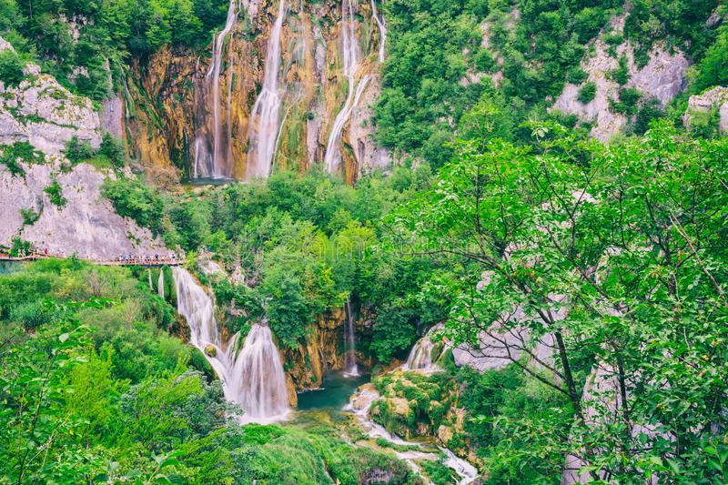 Scenic summer outdoor travel background, Plitvice Lakes National park, Croatia royalty free stock photography