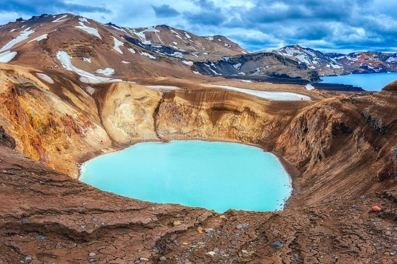 Amazing nature landscape, Viti crater geothermal lake and Oskjuvatn lake in Askja caldera, highlands of Iceland. Scenic panoramic view, outdoor travel royalty free stock photo