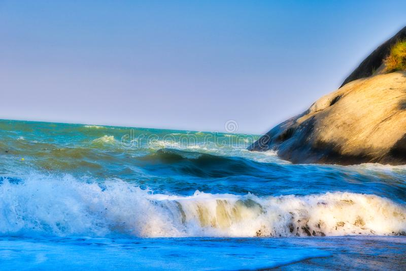 The wavy sea in Hua Hin Thailand stock image