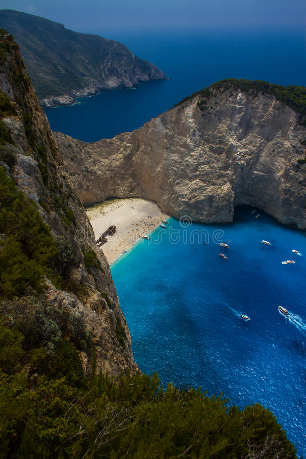 Amazing Navagio Beach in Zakynthos Island, Greece. Zakynthos Greece. Vacation and Tourism concept. Most popular bay in the world. Famous place. Travel background royalty free stock photography