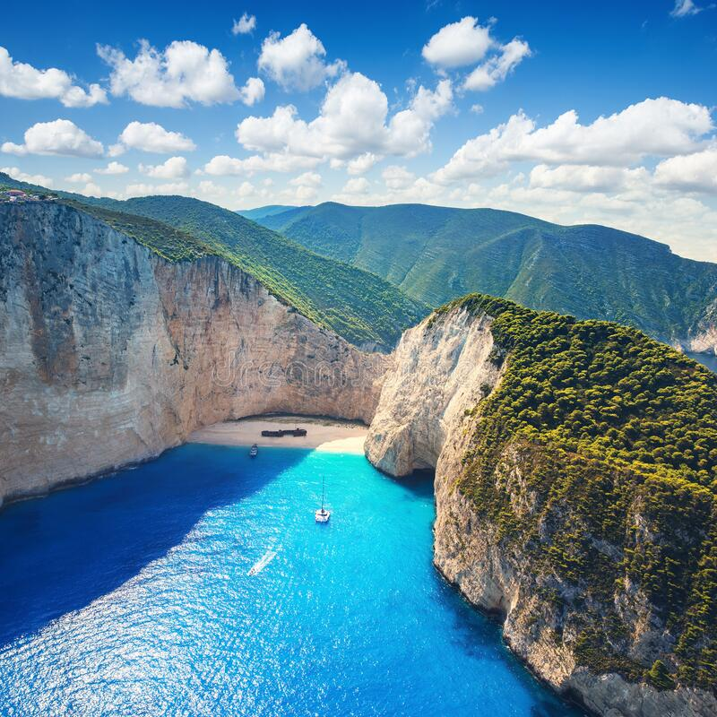 The amazing Navagio beach in Zante, Greece, with the famous wrecked ship royalty free stock photos