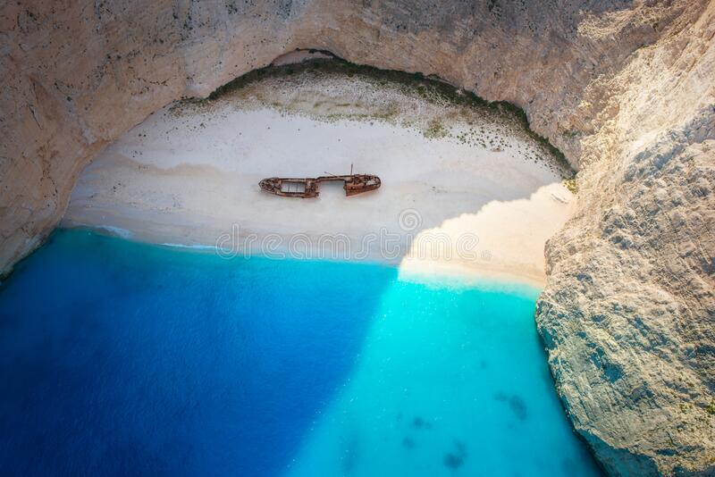 The amazing Navagio beach in Zante, Greece, with the famous wrecked ship stock images