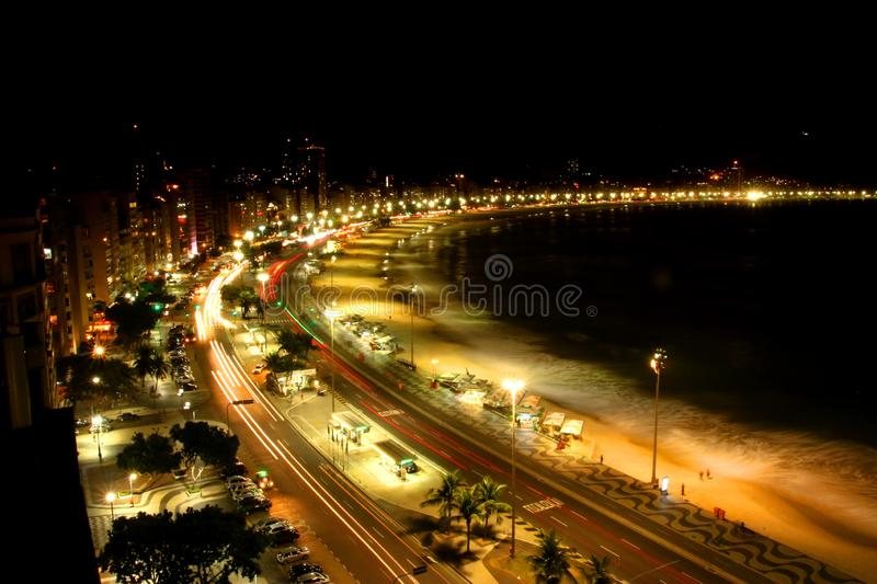 Amazing night light of Rio de Janeiro beach. Amazing night light of Rio de Janeiro on the beach side stock image