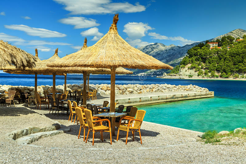 Download Amazing Outdoor Tropical Beach BarBrelaDalmatiaCroatiaEurope Stock Image