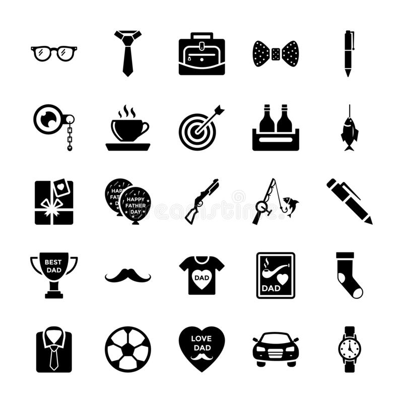 Fathers Day Solid Icons royalty free illustration