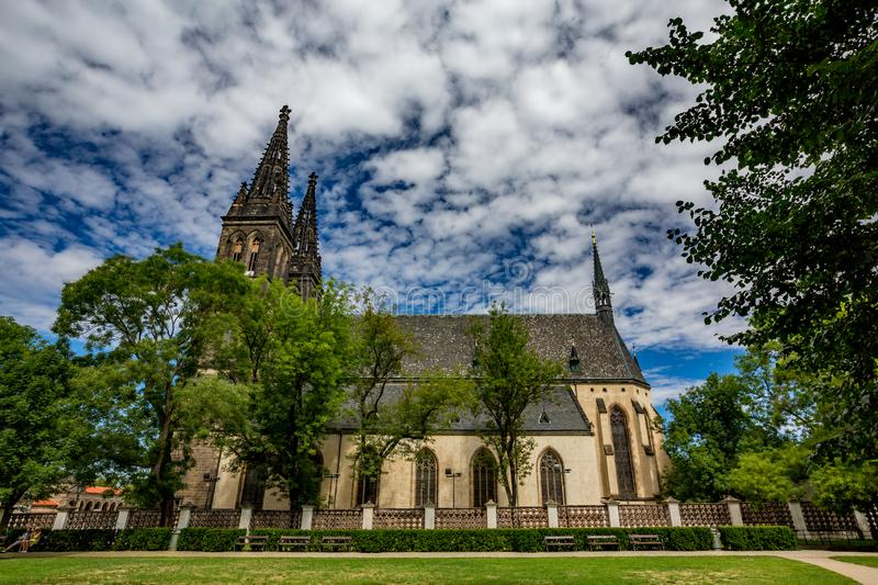St. Peter and St. Paul Basilica, Prague, side view. Amazing overcast summer day landscape view of the St. Peter and St. Paul Basilica, Prague, Czech Republic royalty free stock photography