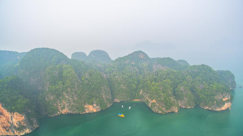 Aerial view Koh Yao Yai is in Phang Nga , Thailand. Amazing Panak island has a cave entrance into the canyon. Visitors can take a canoe boat to see the big stock images