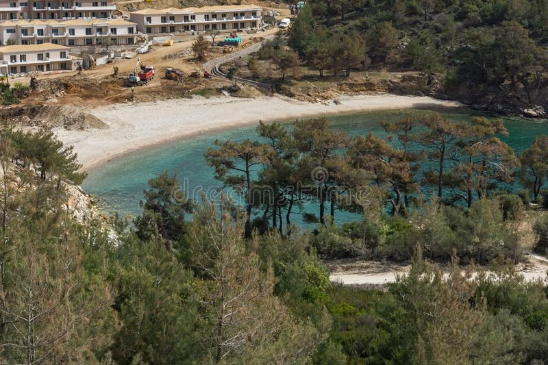 Panorama of beach at Thassos island, East Macedonia and Thrace, Greece. Amazing panorama of beach at Thassos island, East Macedonia and Thrace, Greece royalty free stock image
