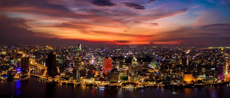Amazing panorama cityscape and skyline at sunset evening royalty free stock image