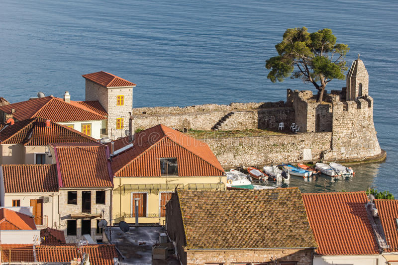 Amazing panorama with Fortification at the port of Nafpaktos town, Greece. Amazing panorama with Fortification at the port of Nafpaktos town, Western Greece royalty free stock photos