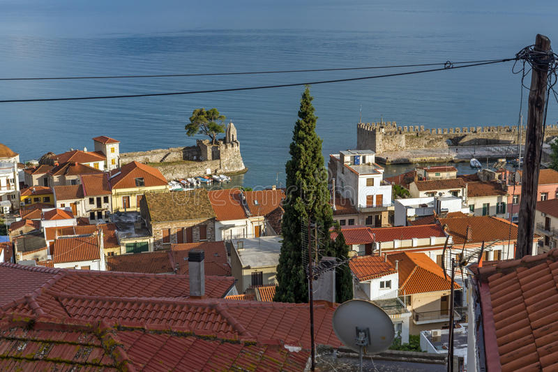 Amazing panorama with Fortification at the port of Nafpaktos town, Greece. Amazing panorama with Fortification at the port of Nafpaktos town, Western Greece royalty free stock images