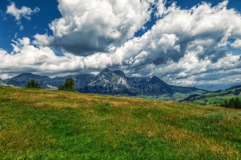 Amazing panorama during a hike through the swiss alps. Toggenburg stock photography