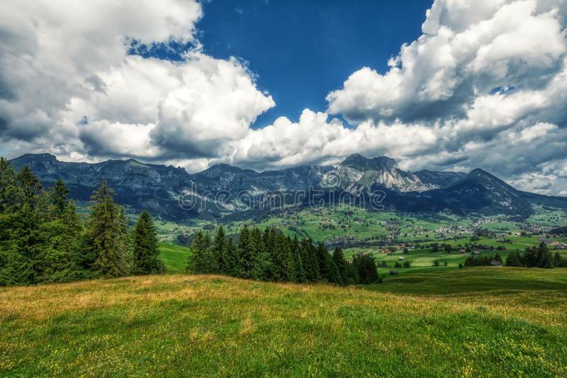 Amazing panorama during a hike through the swiss alps. Toggenburg royalty free stock photography