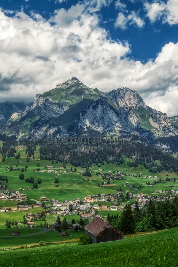Amazing panorama during a hike through the swiss alps. Toggenburg stock photos