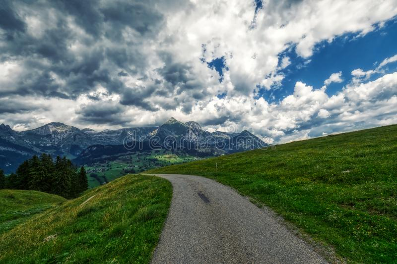 Amazing panorama during a hike through the swiss alps. Toggenburg royalty free stock images