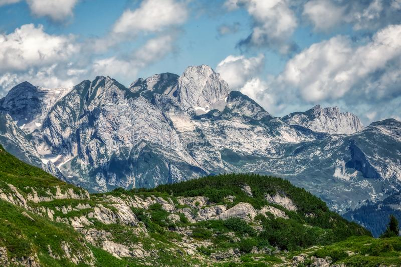 Amazing panorama during a hike through the swiss alps. Toggenburg stock image