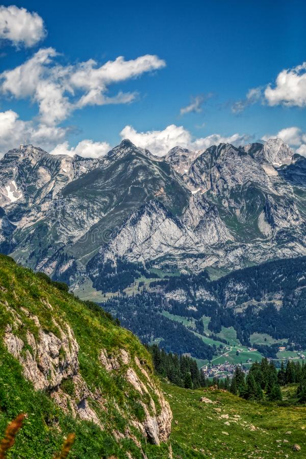 Amazing panorama during a hike through the swiss alps. Toggenburg stock images