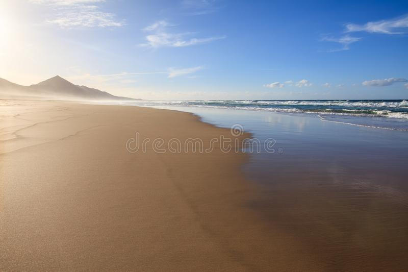 Amazing panorama landscape of beach in Canary Islands, Spain stock images