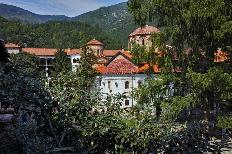Amazing Panorama of Medieval Bachkovo Monastery. Bulgaria stock images