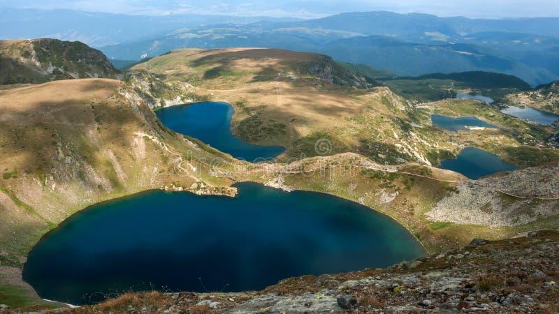 Amazing Panorama of The Seven Rila Lakes. Bulgaria stock photos