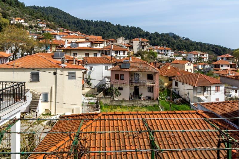 Amazing Panorama to village of Potamia, Thassos island, Greece. Amazing Panorama to village of Potamia, Thassos island, East Macedonia and Thrace, Greece royalty free stock photos