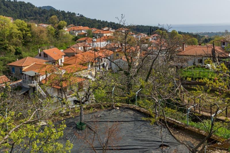 Amazing Panorama to village of Potamia, Thassos island, Greece. Amazing Panorama to village of Potamia, Thassos island, East Macedonia and Thrace, Greece royalty free stock image