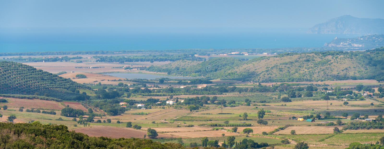 Amazing panorama with the Tuscany coastline, from the Capalbio city walls. Province of Grosseto, Italy. stock photos