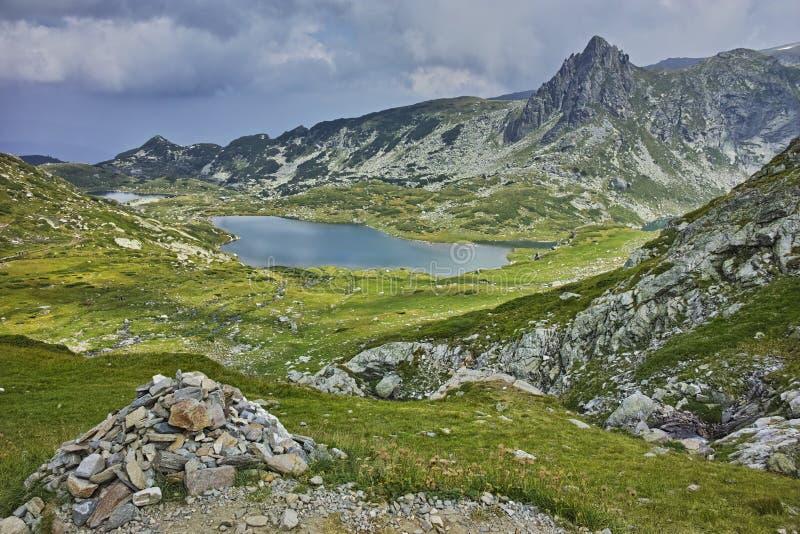 Amazing panorama of The Twin lake, The Seven Rila Lakes. Bulgaria royalty free stock photo
